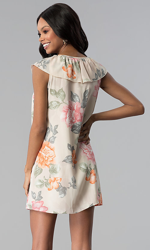 Image of floral-print v-neck short shift party dress. Style: RO-R66749 Back Image