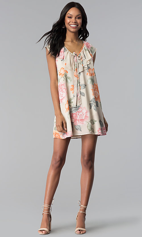 Image of floral-print v-neck short shift party dress. Style: RO-R66749 Detail Image 3