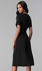 Image of sleeved faux-wrap knee-length wedding-guest dress. Style: RO-R66609 Back Image