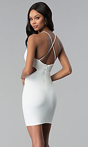 Image of short ivory white cocktail party dress. Style: BLU-BD8459 Back Image