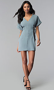 Image of short casual dolman-sleeve blue party dress. Style: BLU-IBD8880 Detail Image 3