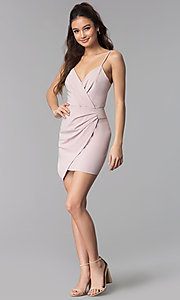 Image of faux-wrap v-neck short graduation party dress. Style: BLU-IBD8920 Detail Image 2