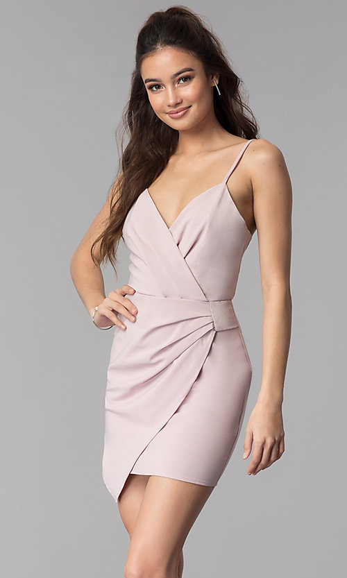 Image of faux-wrap v-neck short graduation party dress. Style: BLU-IBD8920 Front Image