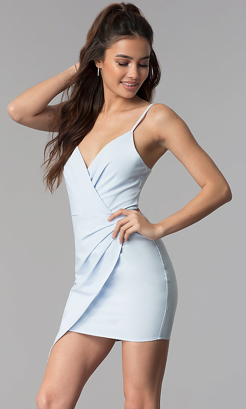 Image of faux-wrap v-neck short graduation party dress. Style: BLU-IBD8920 Detail Image 3