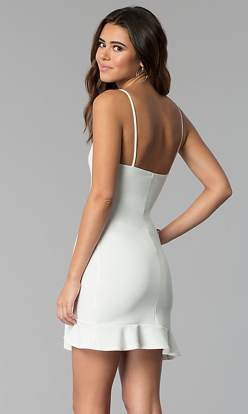 Image of wrap-tie short white graduation party dress. Style: BLU-BD8837 Back Image