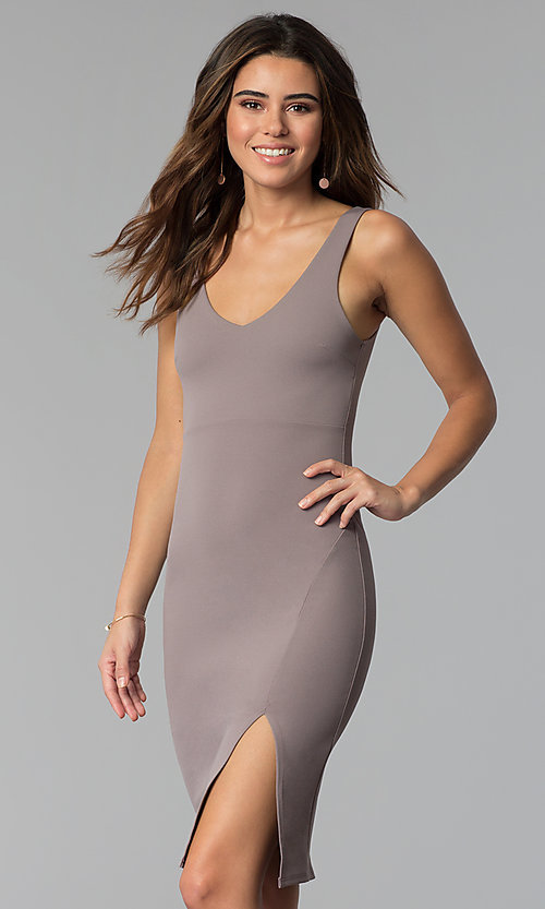 Image of short v-neck cocktail party dress in smoke mauve. Style: BLU-BD9037 Front Image