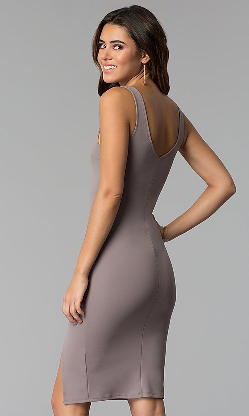 Image of short v-neck cocktail party dress in smoke mauve. Style: BLU-BD9037 Back Image