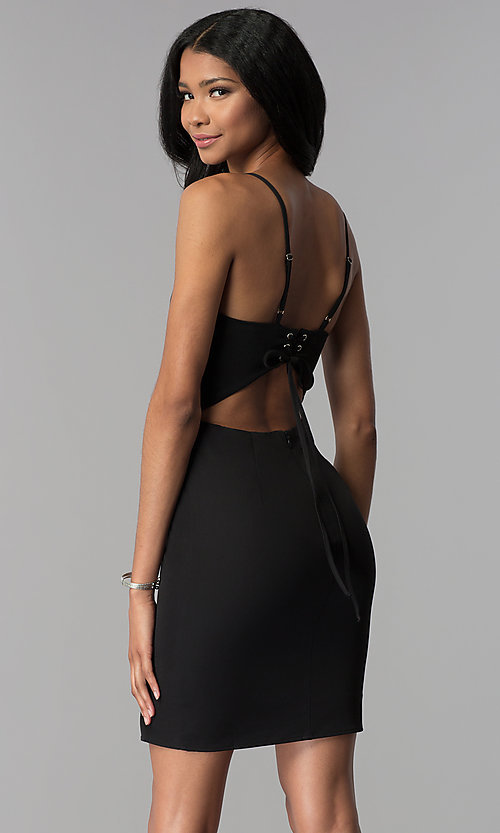 Image of short corset-back black party dress. Style: BLU-IBD8919 Back Image