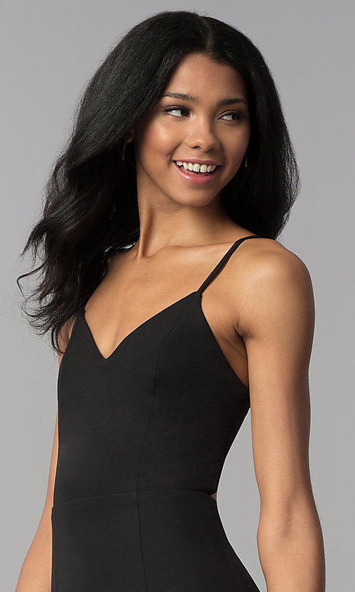 Image of short corset-back black party dress. Style: BLU-IBD8919 Detail Image 1