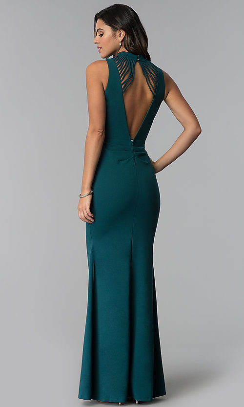 Image of high-neck long sleeveless prom dress with open back. Style: SY-IDM5468VP Back Image