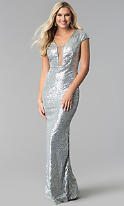 Long Sequin Prom Dress with Cap Sleeves