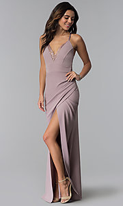 Image of long prom dress with ruching and lace v-neck. Style: SY-IDM5575VP Front Image