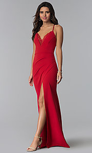Image of long prom dress with ruching and lace v-neck. Style: SY-IDM5575VP Detail Image 2