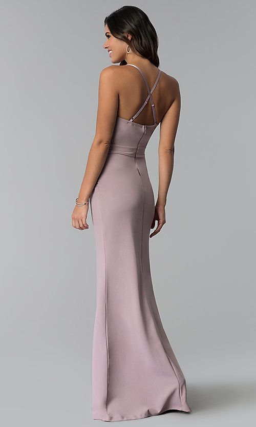 Image of long prom dress with ruching and lace v-neck. Style: SY-IDM5575VP Back Image