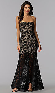 Image of strapless high-low lace prom dress with short lining. Style: SY-IDM5621VP Front Image