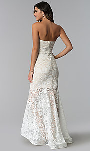Image of strapless high-low lace prom dress with short lining. Style: SY-IDM5621VP Detail Image 3