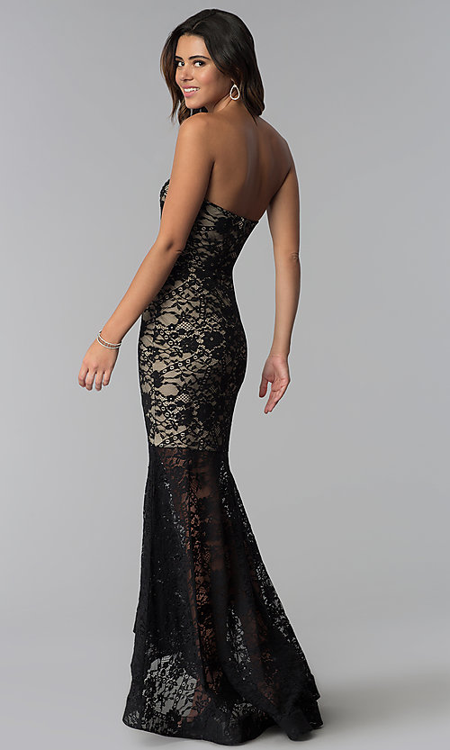 Image of strapless high-low lace prom dress with short lining. Style: SY-IDM5621VP Back Image