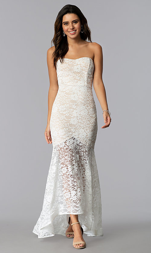 Image of strapless high-low lace prom dress with short lining. Style: SY-IDM5621VP Detail Image 2