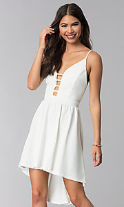 Short Ivory Graduation Dress with a Caged Neckline
