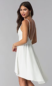 Image of ivory high-low open-back graduation party dress. Style: SY-ID4673VP Back Image