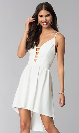 Ivory High-Low Open-Back Graduation Party Dress