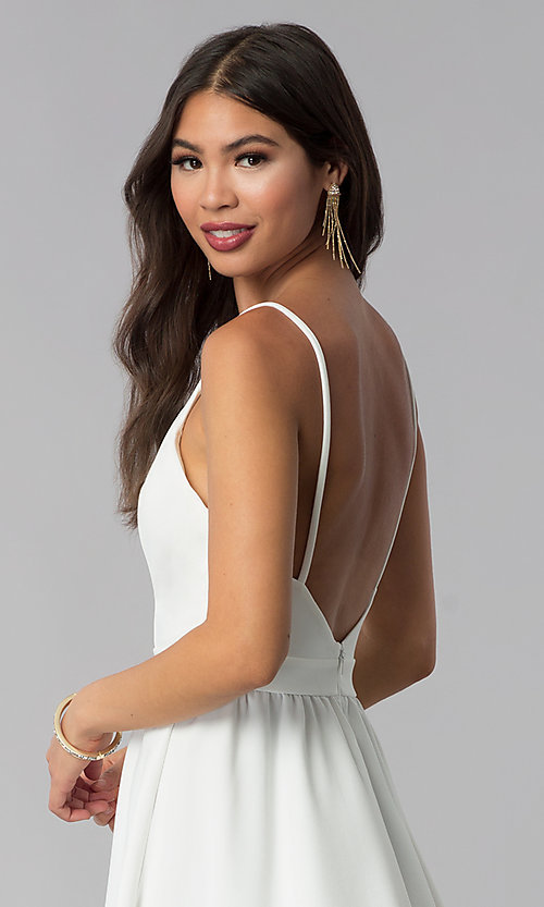 Image of ivory high-low open-back graduation party dress. Style: SY-ID4673VP Detail Image 2