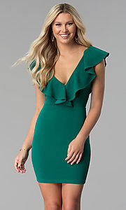 Deep-V-Neck Short Party Dress with Ruffles