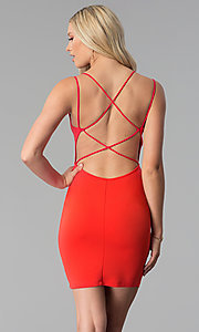 Image of short caged-open-back red party dress. Style: SY-ID5582VP Back Image