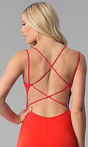 Image of short caged-open-back red party dress. Style: SY-ID5582VP Detail Image 2