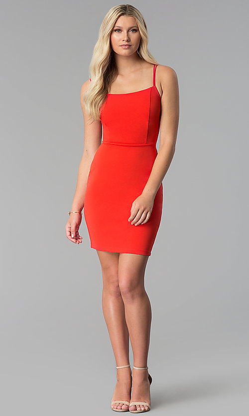 Image of short caged-open-back red party dress. Style: SY-ID5582VP Detail Image 3