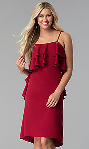 Image of burgundy red knee-length party dress with ruffles. Style: SY-KD5578EY Front Image