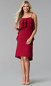 Image of burgundy red knee-length party dress with ruffles. Style: SY-KD5578EY Detail Image 3