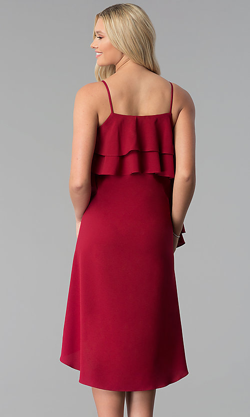 Image of burgundy red knee-length party dress with ruffles. Style: SY-KD5578EY Back Image
