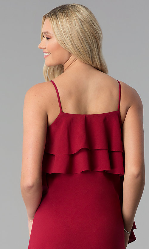 Image of burgundy red knee-length party dress with ruffles. Style: SY-KD5578EY Detail Image 2