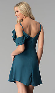 Image of short asymmetrical-flounce party dress. Style: SY-KD5752CY Back Image