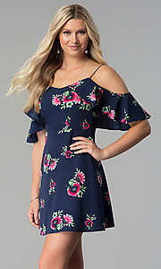 Image of short floral-print cold-shoulder party dress. Style: SY-KD5754EY Front Image
