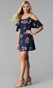 Image of short floral-print cold-shoulder party dress. Style: SY-KD5754EY Detail Image 2
