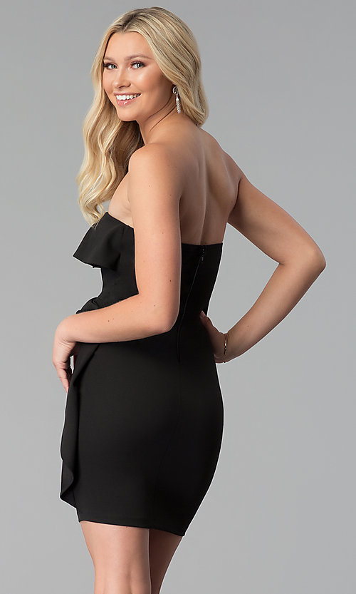 Image of short strapless party dress with flounce. Style: SY-ID5775VP Back Image