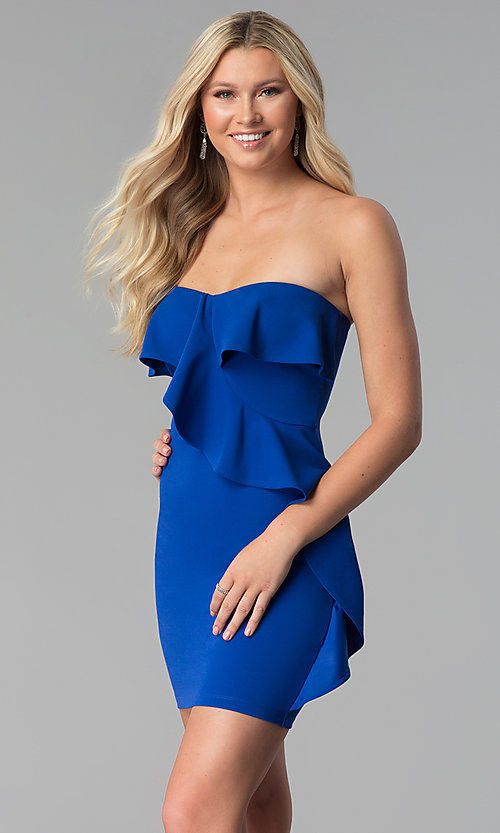 Image of short strapless party dress with flounce. Style: SY-ID5775VP Detail Image 3