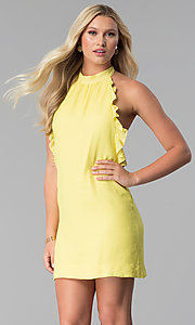 Image of open-back short yellow casual halter party dress. Style: SY-KD5856CY Front Image