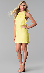 Image of open-back short yellow casual halter party dress. Style: SY-KD5856CY Detail Image 3