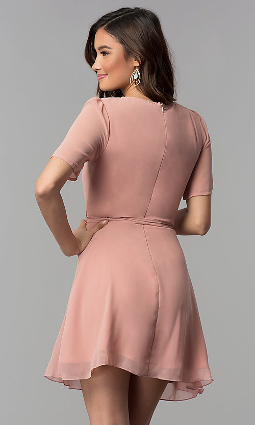 Image mauve pink v-neck short-sleeve wedding guest dress. Style: SY-KD5860EY Back Image