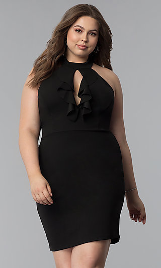 Short Plus-Size Keyhole-Front Party Dress