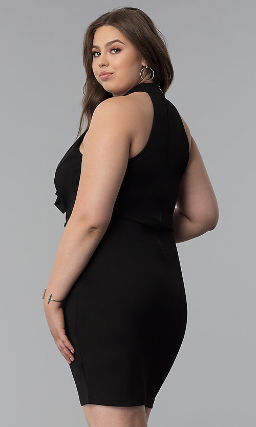 Image of short plus-size keyhole-front party dress. Style: SY-IXD5664VP Back Image