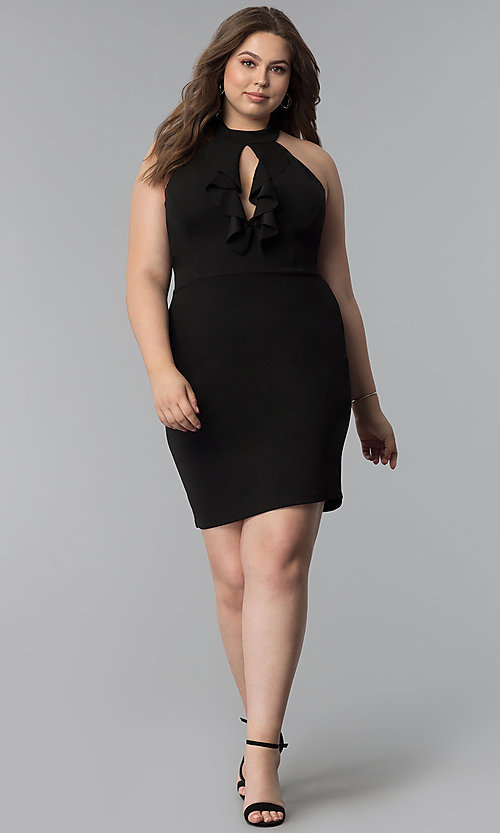 Image of short plus-size keyhole-front party dress. Style: SY-IXD5664VP Detail Image 2