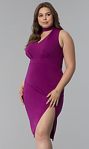 Image of short plus-size choker-collar party dress. Style: SY-IXD5681AP Front Image
