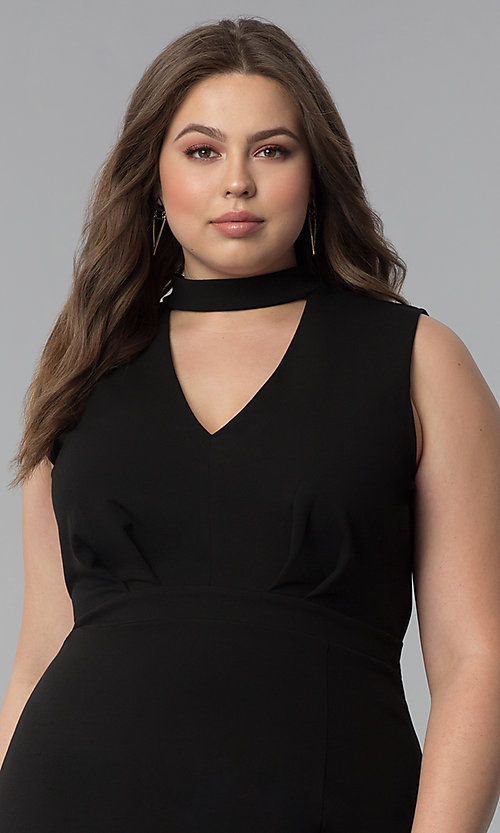 Image of short plus-size choker-collar party dress. Style: SY-IXD5681AP Detail Image 5