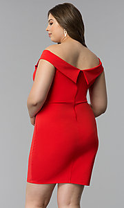 Image of off-the-shoulder short plus-size party dress. Style: SY-IXD5715VP Back Image