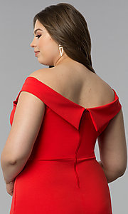 Image of off-the-shoulder short plus-size party dress. Style: SY-IXD5715VP Detail Image 2