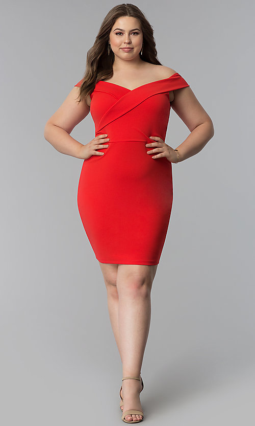Image of off-the-shoulder short plus-size party dress. Style: SY-IXD5715VP Detail Image 3